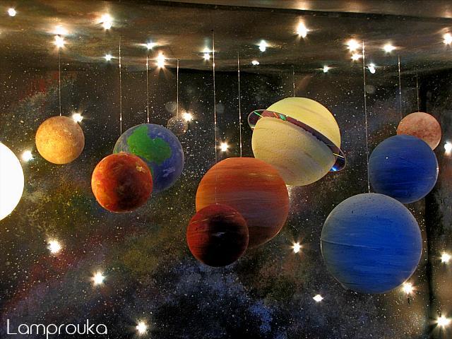 Κατασκευή ηλιακού συστήματος με αστέρια και πλανήτες.