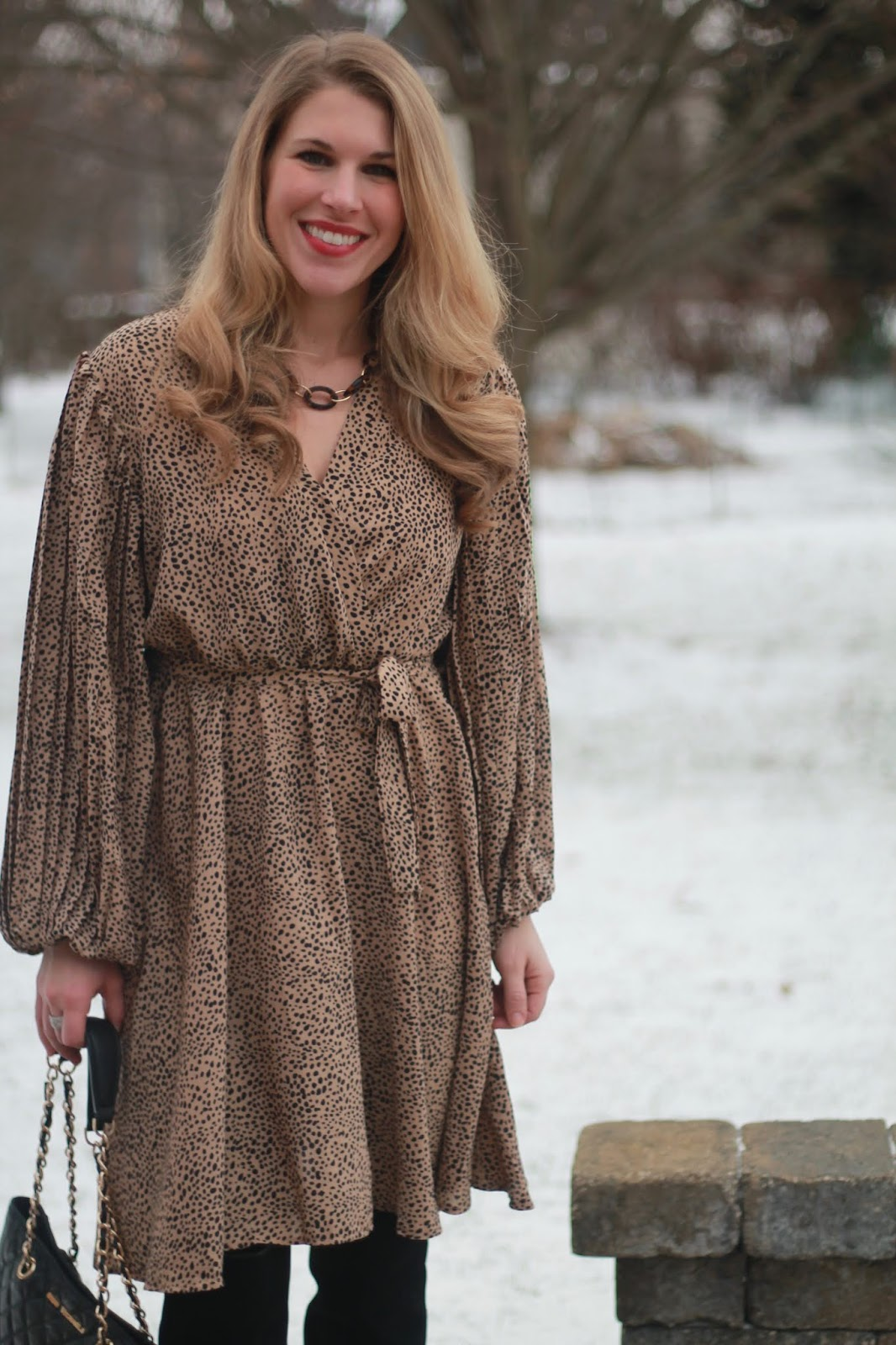 leopard wrap dress, black OTK boots, quilted black leather tote