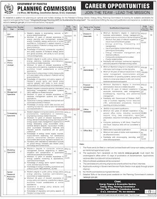 Planning commission of Pakistan jobs 2020 for the office assistant,IT staff,admin/Office office specialist,director and other Latest
