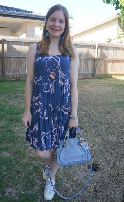 Kmart strappy tiered sundress in watercolour blue and blush print with adidas superstar sneakers statement tassel earrings and chloe small paraty bag | awayfromblue