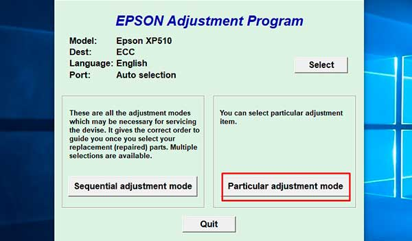 how to reset printer epson expression xp-605