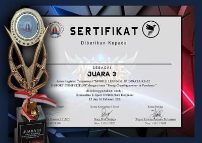 SMK TI Bali Global Badung Raih Juara 3 di Ajang Mobile Legend E-Sport Competition Undiknas Denpasar