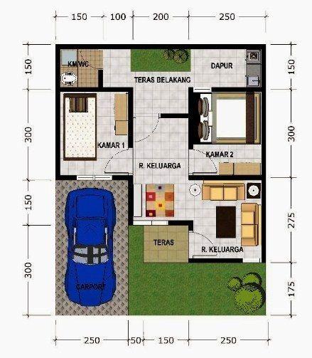 Contoh Denah Rumah Minimalis Type 45 Sederhana