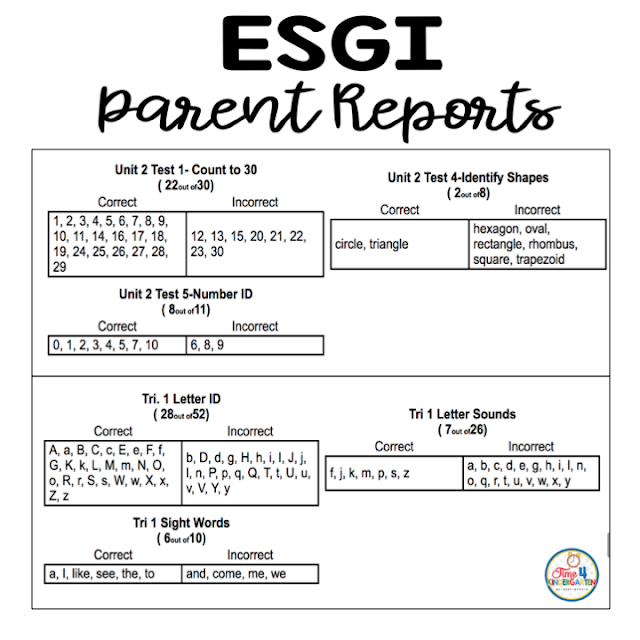 ESGI Parent Reports, lets parents know exactly how their students are progressing academically in school.  The reports can be printed in English and Spanish.