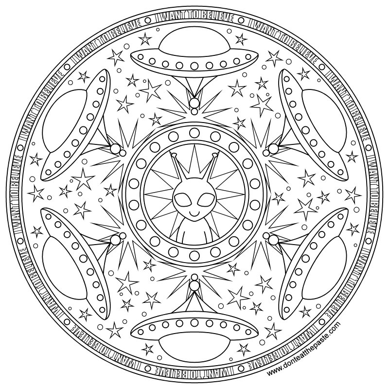 Don't Eat the Paste: Alien Mandala to print and color