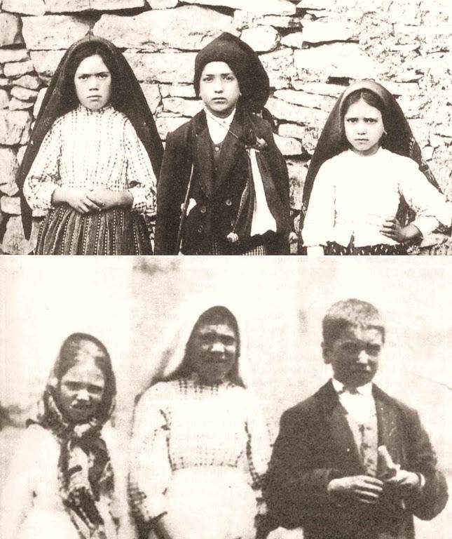 Lúcia, Francisco e Jacinta: em cima, antes da visão do Inferno; embaixo, eles logo após a visão