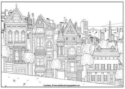 house in sanfrancisco adults architectures coloring pages