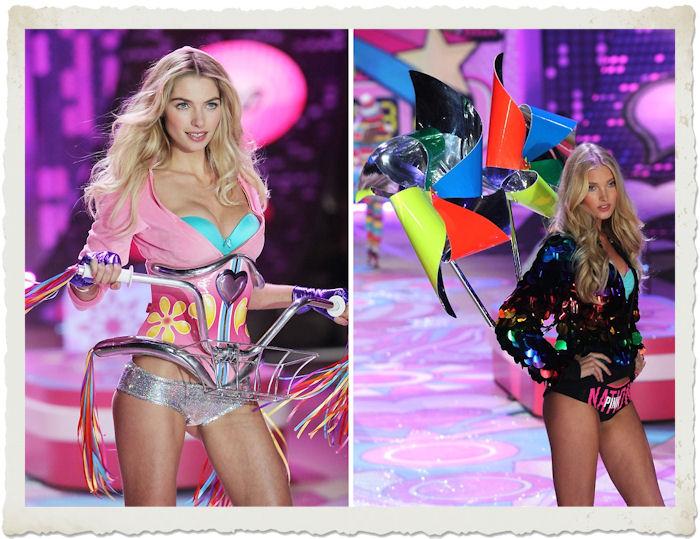Jessica Hart e Elsa Hosk nella sfilata di Victoria's Secret 2012