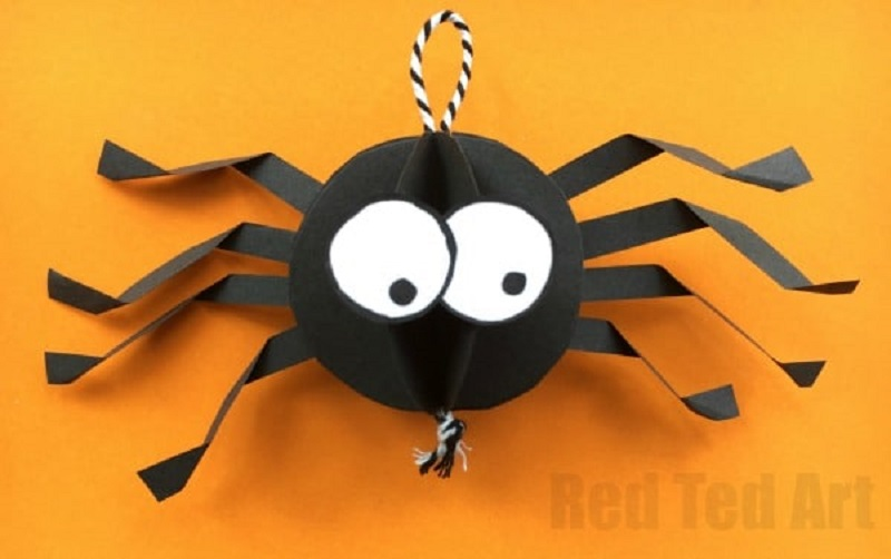 3d paper spider craft