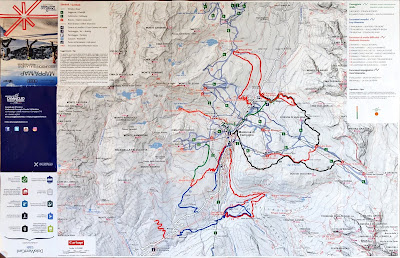 Winter hiking trails map for Madonna di Campiglio.
