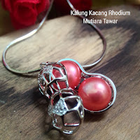 Kalung Rhodium Model Kacang Mutiara Lombok