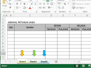 Tampilan group sheet excel