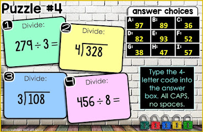 Puzzle #4 in a Multiplying and Dividing Multi-Digit Numbers Digital Math Escape Room
