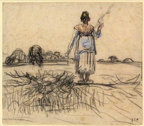 Жан Франсуа Милле - Пастушка с прялкой в Оверни