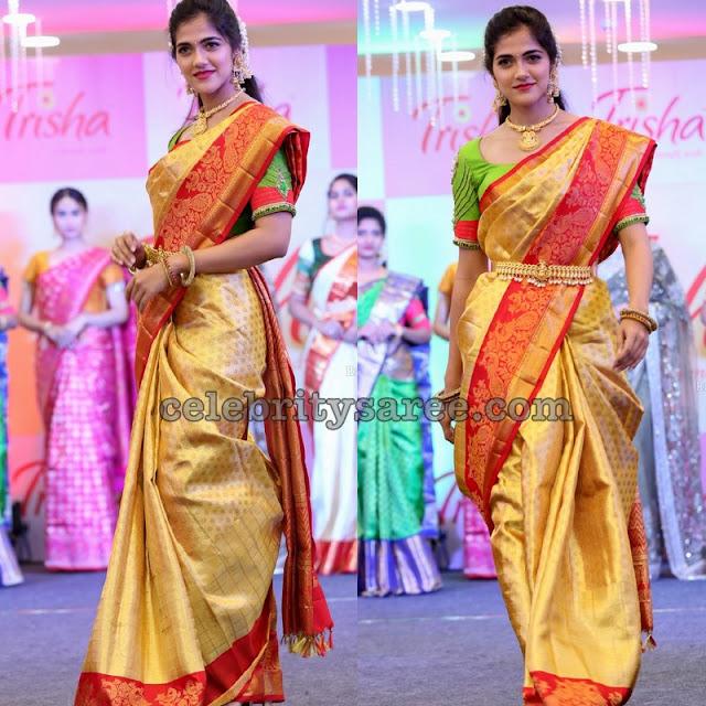 Simran Chowdary Golden Benaras Saree