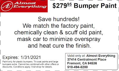 Discount Coupon $279.95 Bumper Paint Sale January 2021