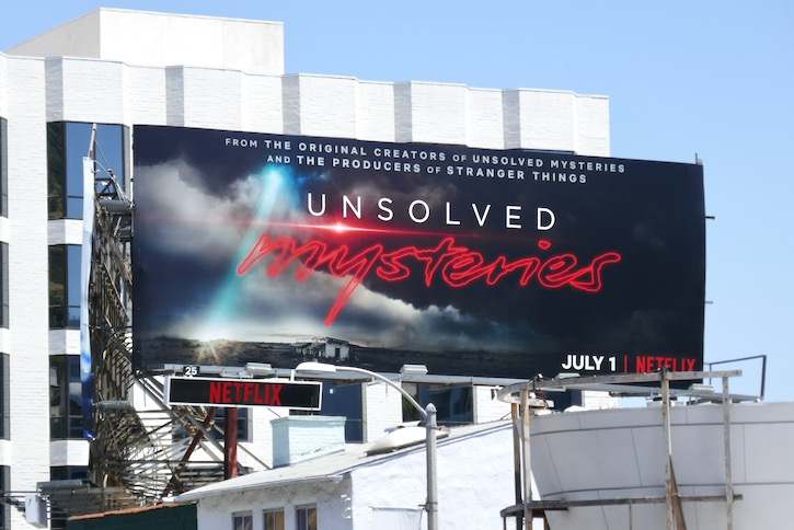 Unsolved Mysteries series launch billboard