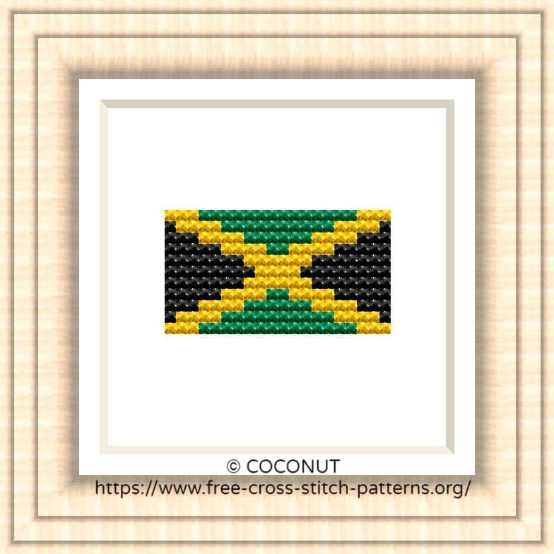 NATIONAL FLAG OF JAMAICA CROSS STITCH CHART