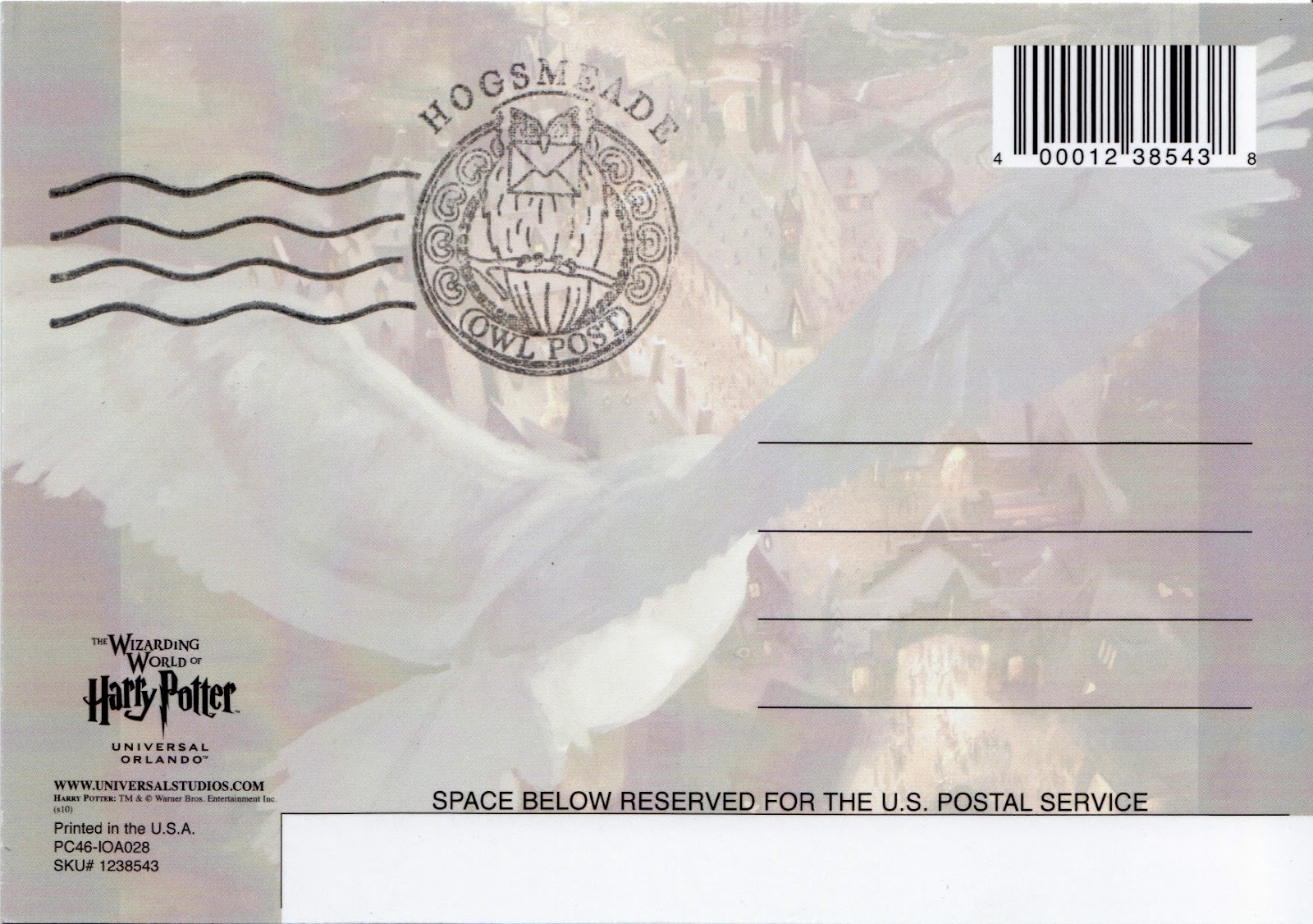 Wizarding World Of Harry Potter Postcards With Hogsmeade Owl Postmark
