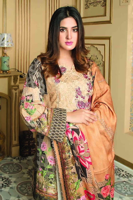 Gul ahmed winter unstitched beige colour and khaddar printed suit