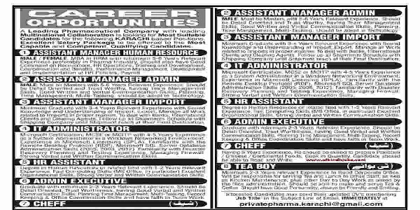 Latest Karachi Jobs 2020 For  Assistant Manager Human Resource & IT Administrator in Pharmaceutical Company