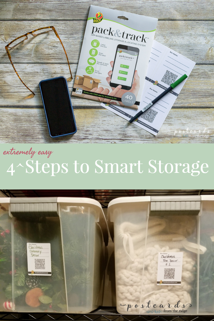 Track and Pack labels on storage containers
