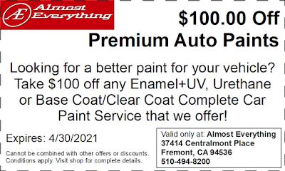 Discount Coupon $100 Off Premium Auto Paint Sale April 2021