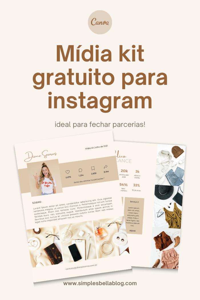 Mídia Kit gratuito para instagram