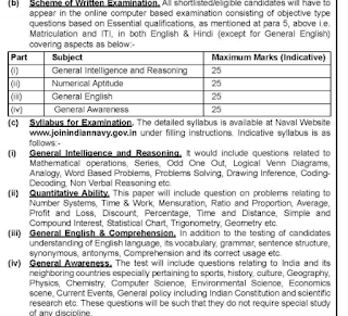 Indian Navy Civilian Entrance Test INCET Tradesman Mate 554 TMM Govt Jobs Online Recruitment Exam Notification 2019-Exam Syllabus