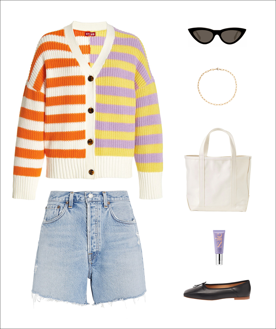 How to wear denim shorts for summer outfit idea with striped cardigan, cat-eye sunglasses, paper clip chain necklace, LL Bean canvas tote bag, cut-off shorts, black ballet flats, dewy tinted SPF moisturizer