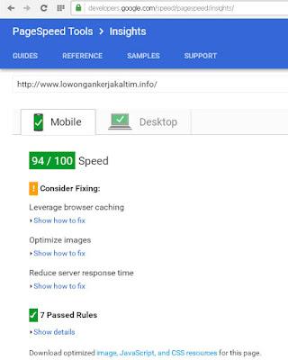 lowongankerjakaltim.info-valid-google-page-speed-insight-versi-mobile