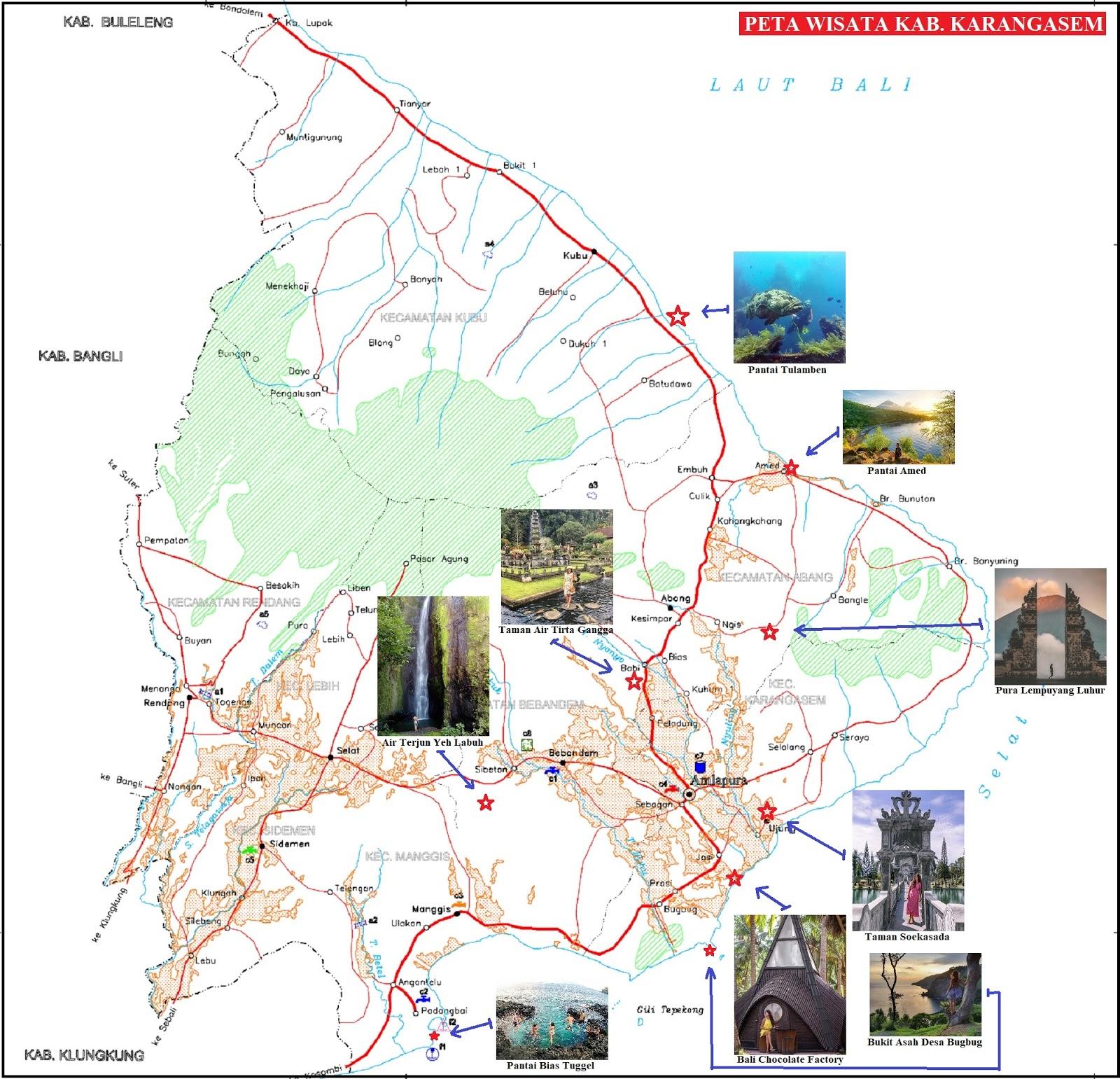 Peta Wisata Kabupaten Karangasem Bali