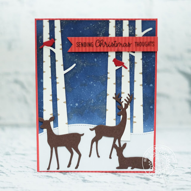 Sunny Studio Stamps: Rustic Winter Dies Woodland Borders Starry Night Sky Christmas Card by Lexa Levana