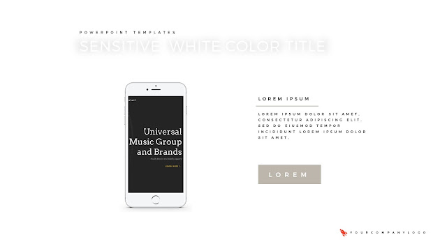 iPhone Mockup of Premium PowerPoint Template with Whit Title