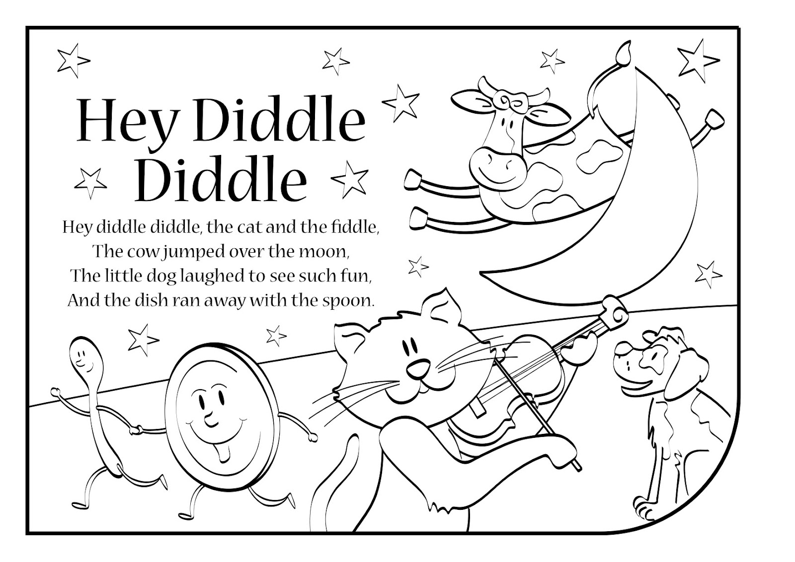 hey diddle diddle coloring pages | ENGLISH SONGS AND RHYMES: LYRICS