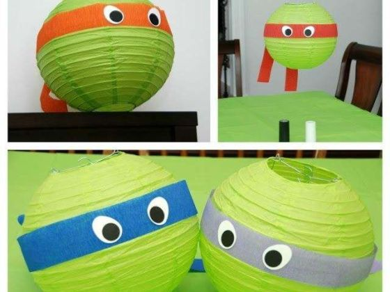 Paper Lamps With the Faces of Ninja Turtles