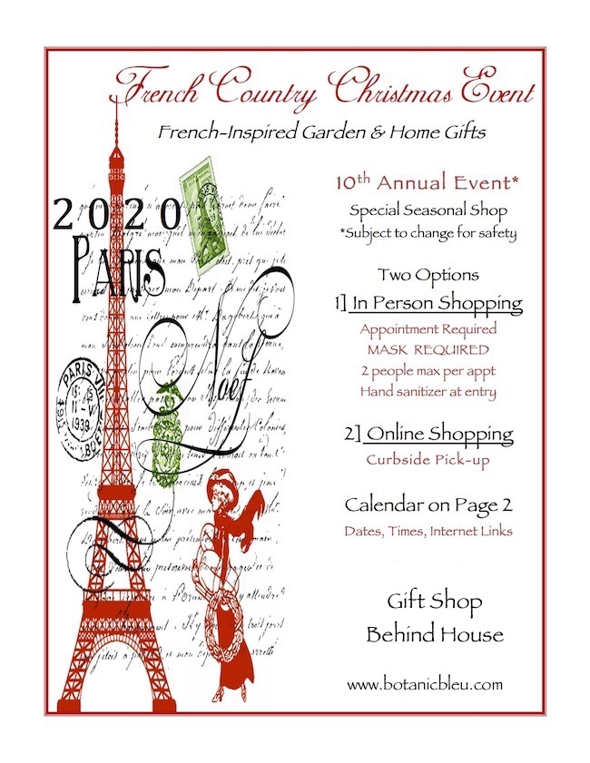 French Country Christmas Event flyer for 2020