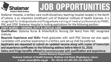 Job Opportunities Shalamar Hospital Lahore