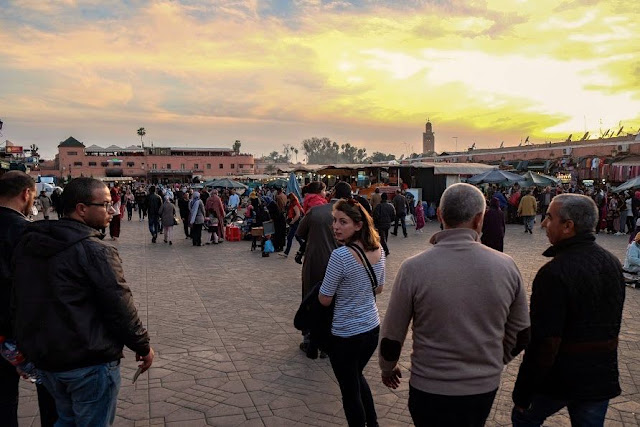 main square in marrakech, jemmy el-fnaa walking