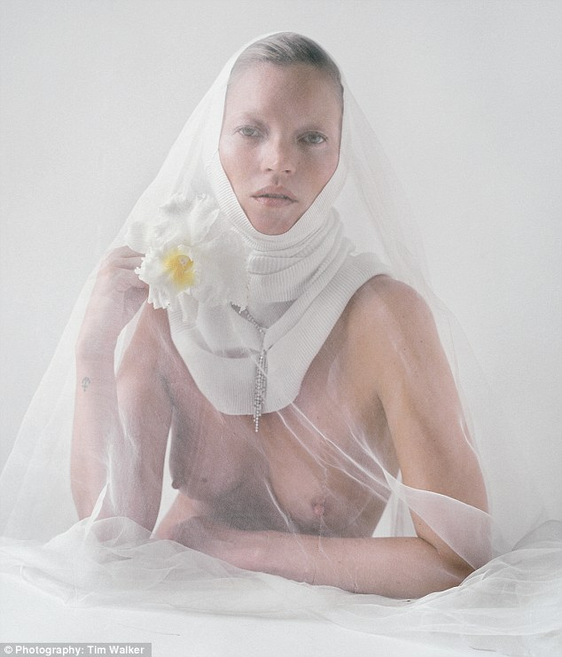 Kate Moss posed semi-nude for LOVE magazine