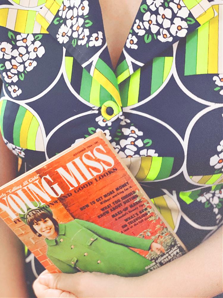 A Vintage Nerd, Vintage Blog, Retro Lifestyle, Young Miss Magazine, Vintage Magazine, Vintage Floral Blouse, Vintage Teen, Vintage Young Miss Magazine, Black Rimmed Cat Eye Glasses, Retro Aesthetic, Vintage Lifestyle, Vintage Blogger