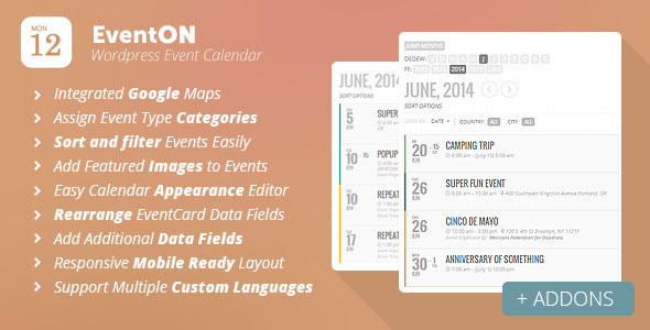 Free Download EventOn V2.3.15 WordPress Event Calendar Plugin