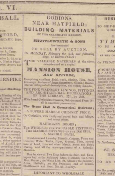 Scan of a cutting from The Reformer newspaper, February 15, 1840. Image from The Peter Miller Collection