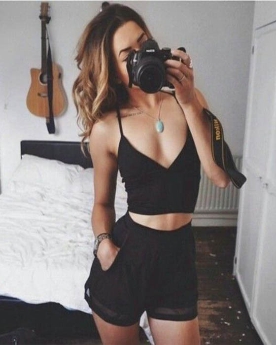 outfit negro tumblr casual