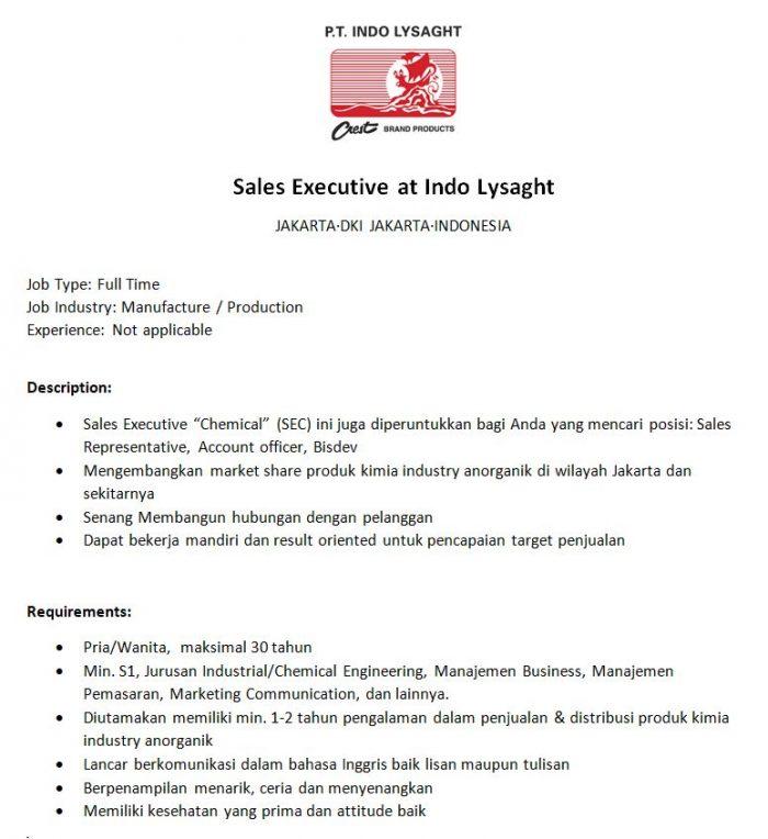 Lowongan Kerja Sales Executive di Jakarta