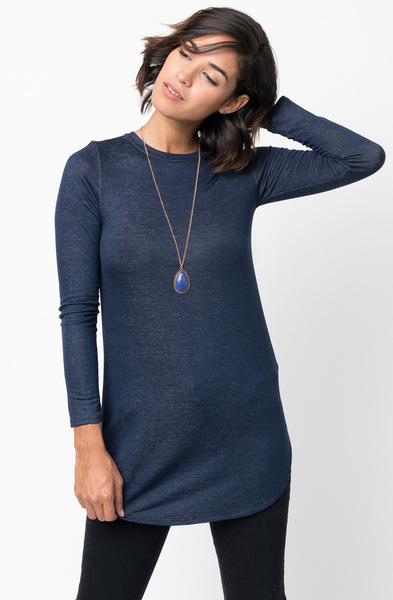 Shop for Navy Crew Neck Terry Long Sleeved Tunic New Colors $42 on caralase.com