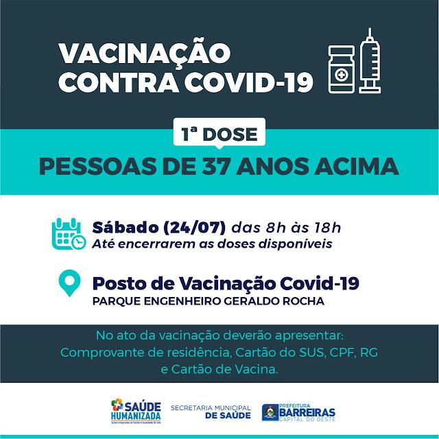 Barreiras recebe novas doses contra a Covid-19 e realiza vacinação neste sábado (24), em pessoas com 37 anos acima