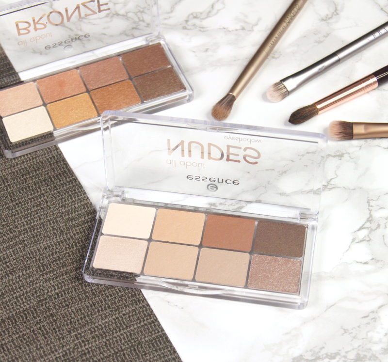 essence all about nudes bronze eyeshadow palettes review swatches best affordable formulas creamy blendable texture strong pigmentation