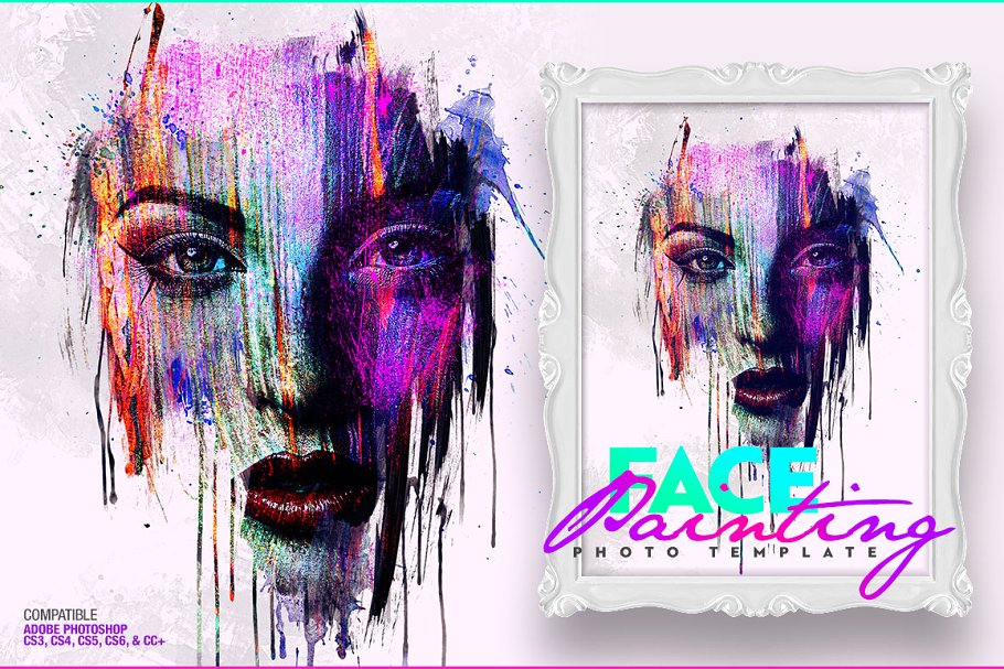 Face Painting Photo Template (JPG, PSD) - Ngcloudy.com