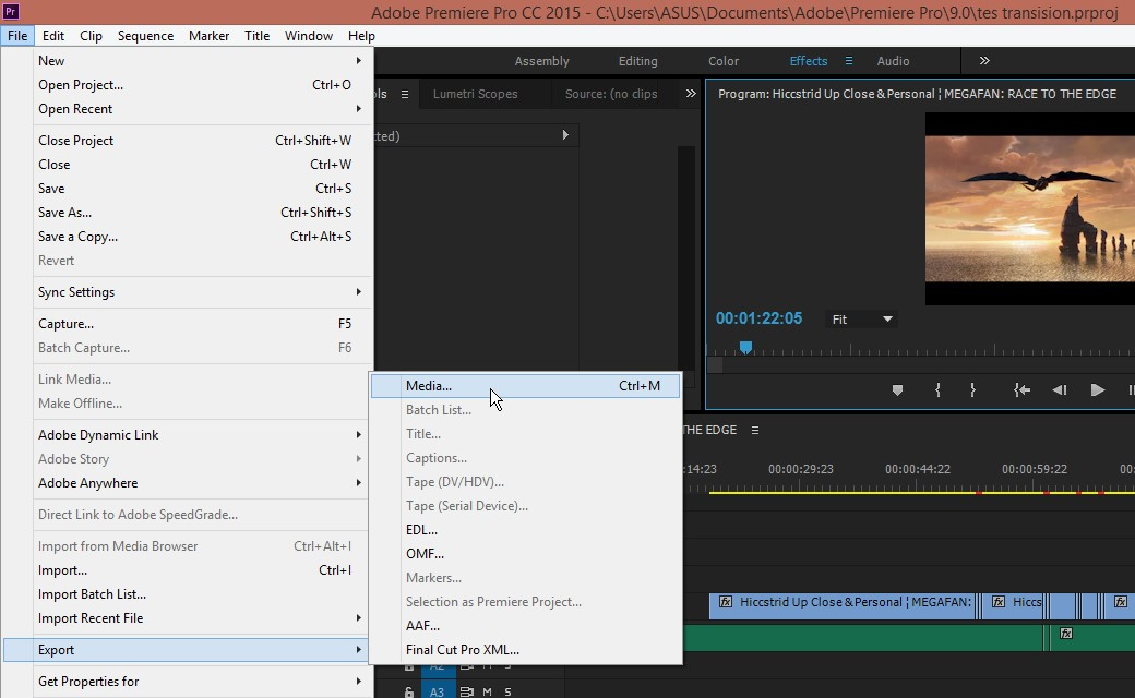 rendering dan export setting